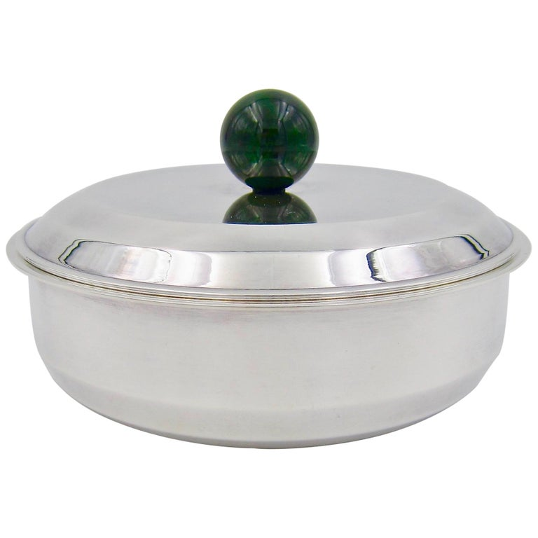 Puiforcat French Art Deco Silver-Plate Bonbonniere Box with Green Enamel Finial For Sale