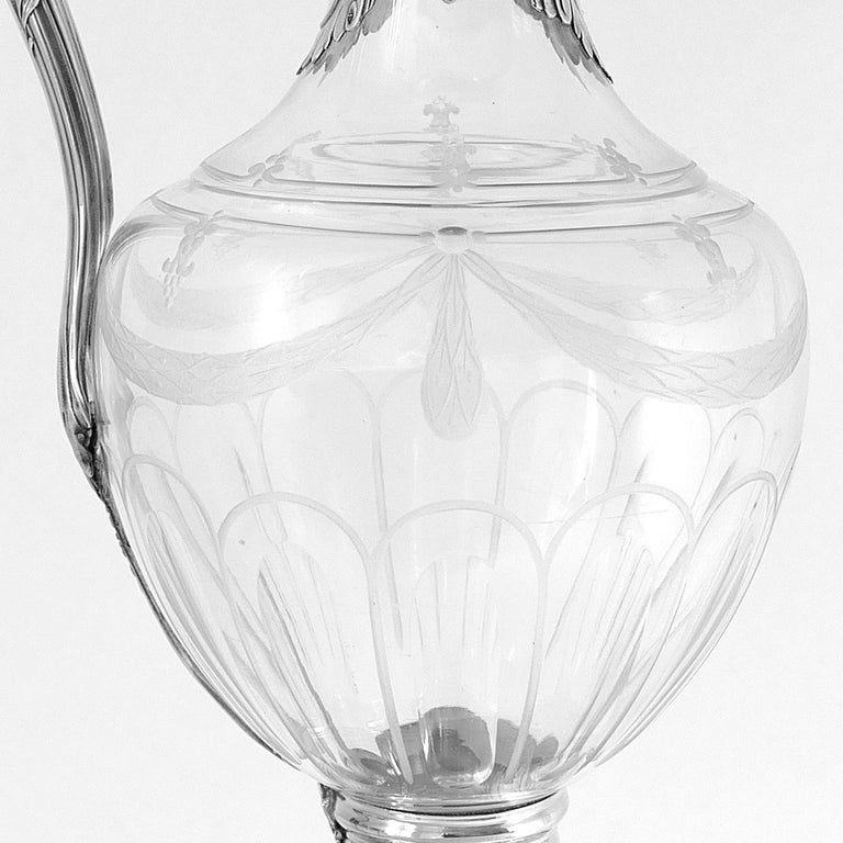 Puiforcat French Sterling Silver 18k Gold Cut Crystal Claret Jug, Ewer, Decanter In Good Condition For Sale In TRIAIZE, PAYS DE LOIRE