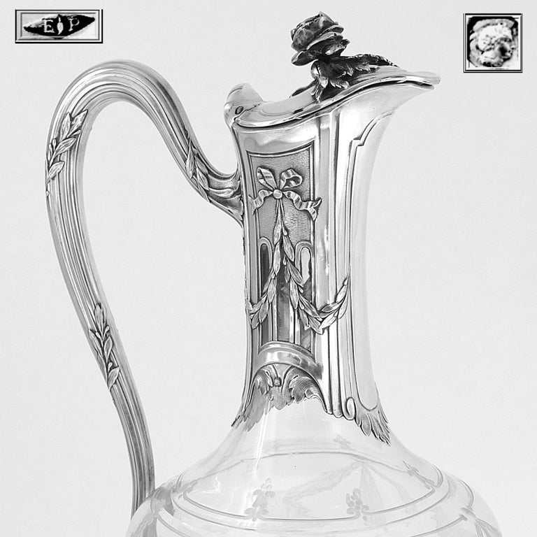 Puiforcat French Sterling Silver 18k Gold Cut Crystal Claret Jug, Ewer, Decanter For Sale 2