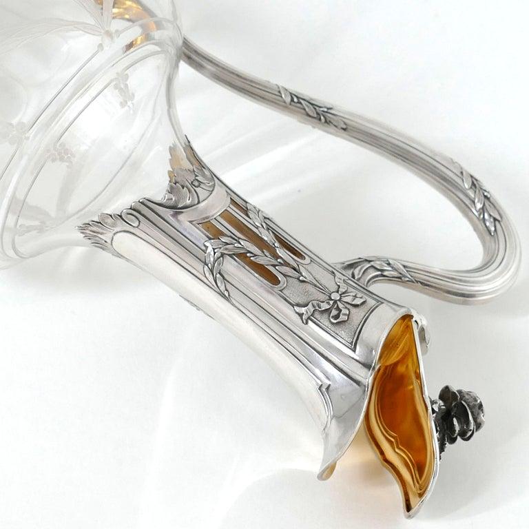 Puiforcat French Sterling Silver 18k Gold Cut Crystal Claret Jug, Ewer, Decanter For Sale 3