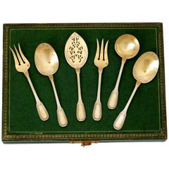 Puiforcat French Sterling Silver 18k Gold Dessert Hors D'oeuvre Set 6 Pc, Box