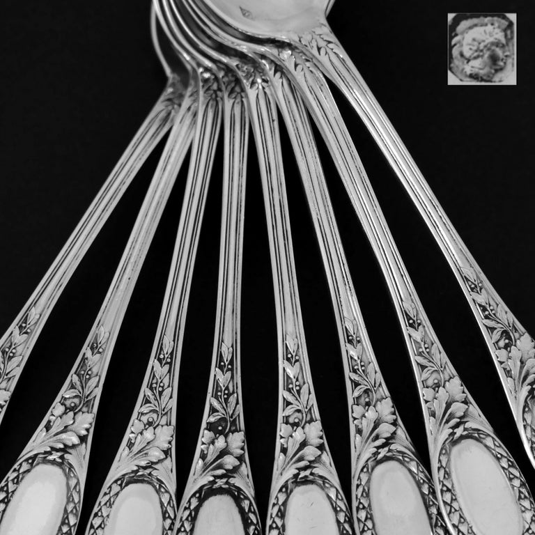 Late 19th Century Puiforcat French Sterling Silver Coffee Dessert Spoons Set, Neoclassical For Sale