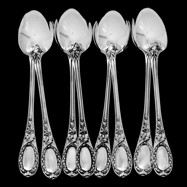 Puiforcat French Sterling Silver Coffee Dessert Spoons Set, Neoclassical For Sale 4