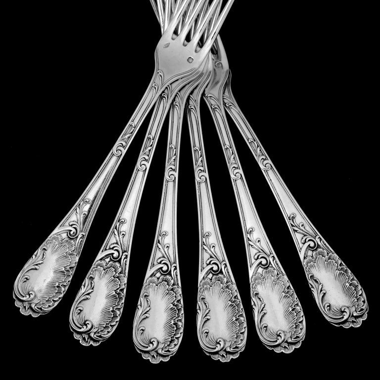 Puiforcat French Sterling Silver Dessert Entremet Flatware Set of 12 Pc Rococo For Sale 1