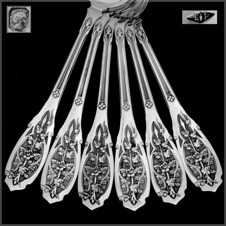 Puiforcat French Sterling Silver Dinner Flatware Set & Serving Pieces, Moderne For Sale 6