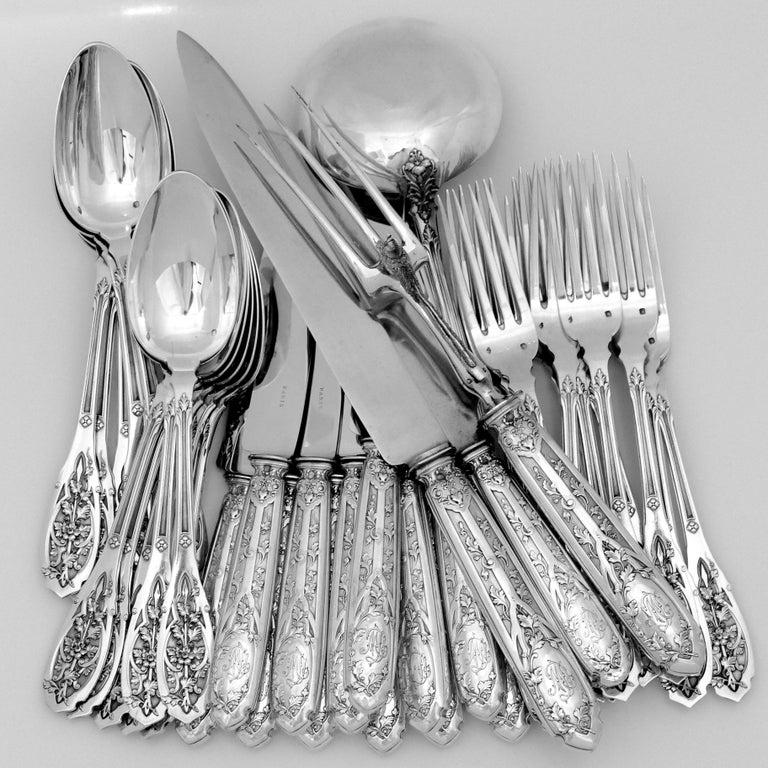 Late 19th Century Puiforcat French Sterling Silver Dinner Flatware Set & Serving Pieces, Moderne For Sale