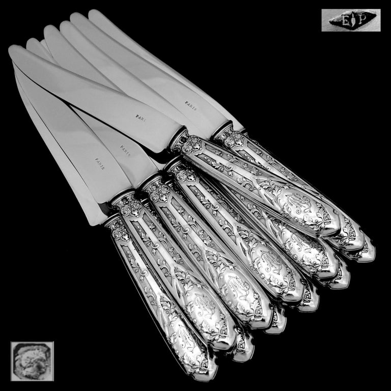 Puiforcat French Sterling Silver Dinner Flatware Set & Serving Pieces, Moderne For Sale 1