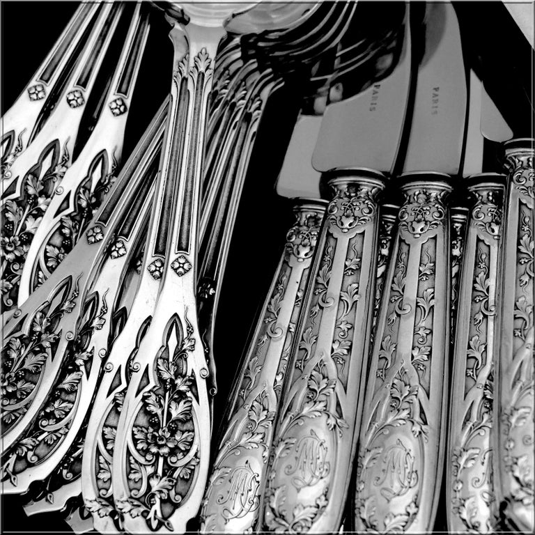 Puiforcat French Sterling Silver Dinner Flatware Set & Serving Pieces, Moderne For Sale 2