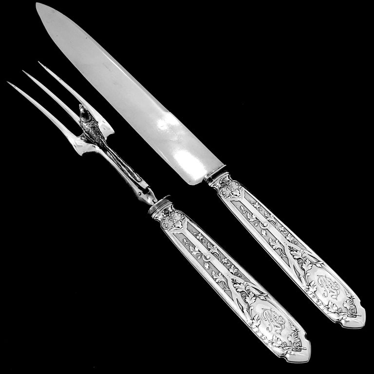 Puiforcat French Sterling Silver Dinner Flatware Set & Serving Pieces, Moderne For Sale 3