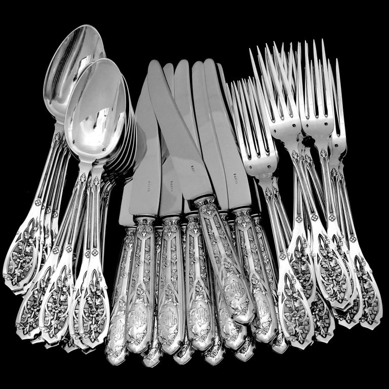 Puiforcat French Sterling Silver Dinner Flatware Set & Serving Pieces, Moderne For Sale 4