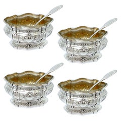 Puiforcat French Sterling Silver Set of Four Salt Cellars with Spoons