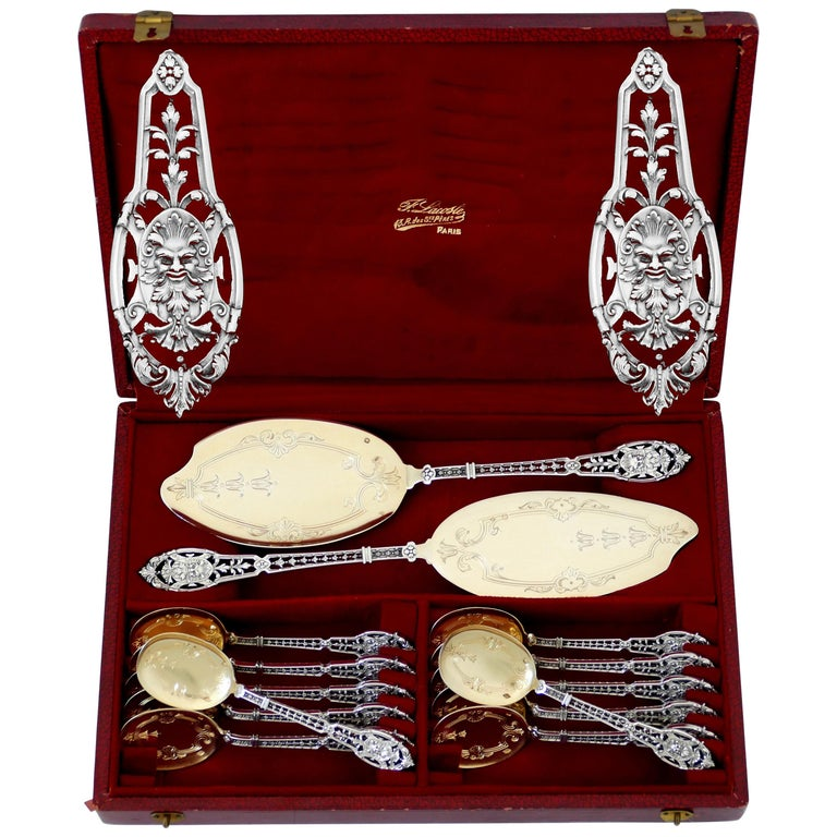 Puiforcat Masterpiece French Sterling Silver 18k Gold Ice Cream Set, Mascaron For Sale