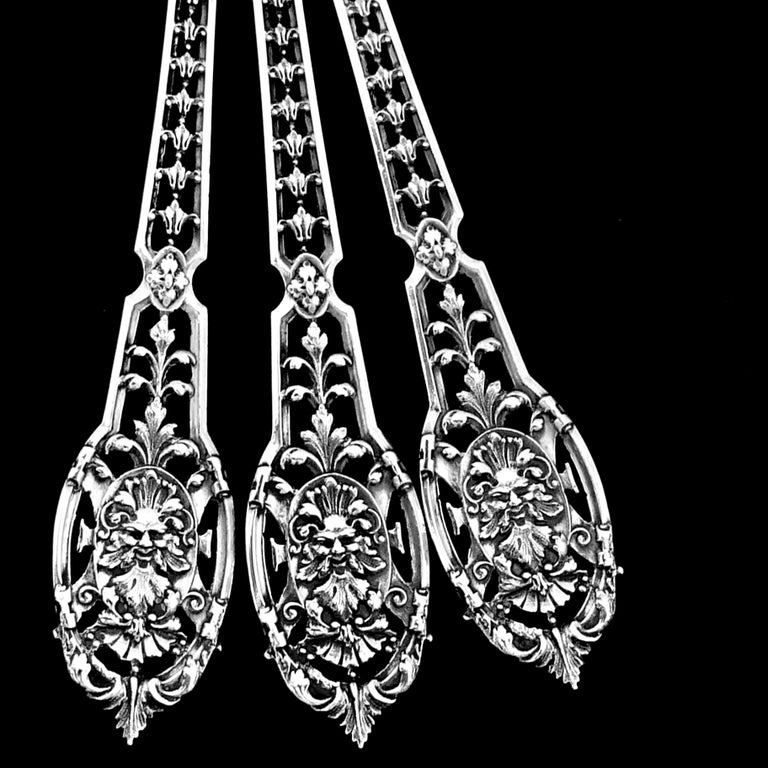 Puiforcat Masterpiece French Sterling Silver Tea, Coffee Spoons Set, Mascaron For Sale 7