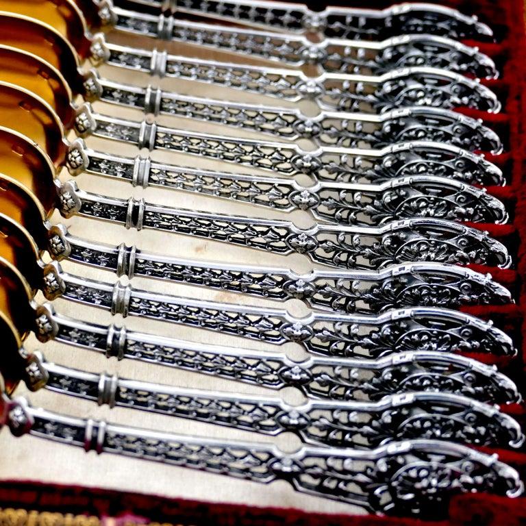 Renaissance Puiforcat Masterpiece French Sterling Silver Tea, Coffee Spoons Set, Mascaron For Sale