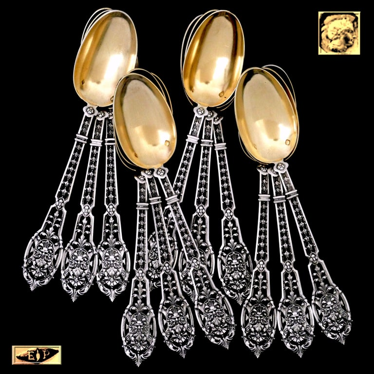 Late 19th Century Puiforcat Masterpiece French Sterling Silver Tea, Coffee Spoons Set, Mascaron For Sale