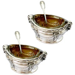 Puiforcat Masterpiece Sterling Silver Salt Cellars Pair, Spoons, Ram's Head