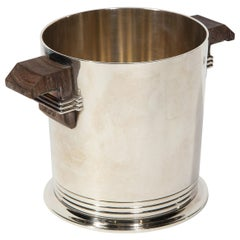 Puiforcat Paris, a Very Chic and Elegant Art Deco Silverplate & Wood Ice Bucket