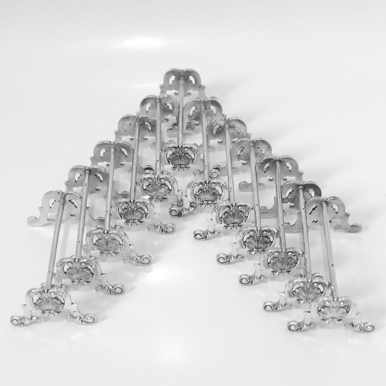 Rococo Puiforcat Rare French All Sterling Silver Knife Rests Set of 12 Pieces For Sale