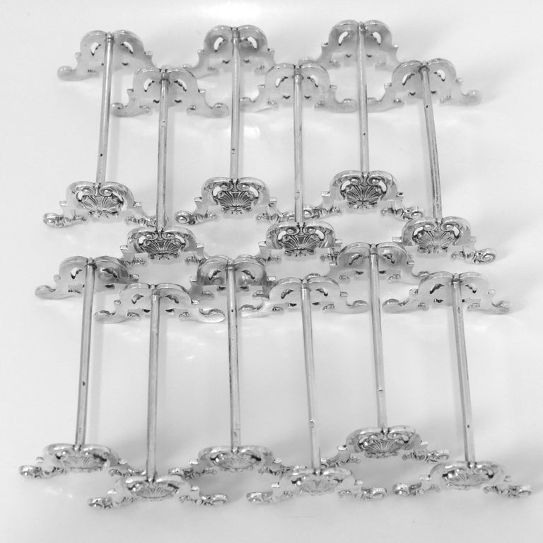 Puiforcat Rare French All Sterling Silver Knife Rests Set of 12 Pieces In Good Condition For Sale In TRIAIZE, PAYS DE LOIRE