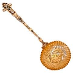 Puiforcat Rare French Sterling Silver 18-Karat Gold Sugar Sifter Spoon, Caryatid