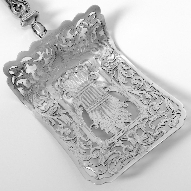 Rococo Puiforcat Rare French Sterling Silver Asparagus Pastry Toast Server For Sale
