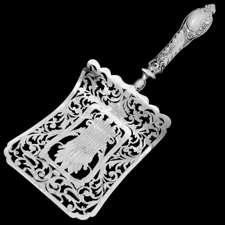 Puiforcat Rare French Sterling Silver Asparagus Pastry Toast Server For Sale 2