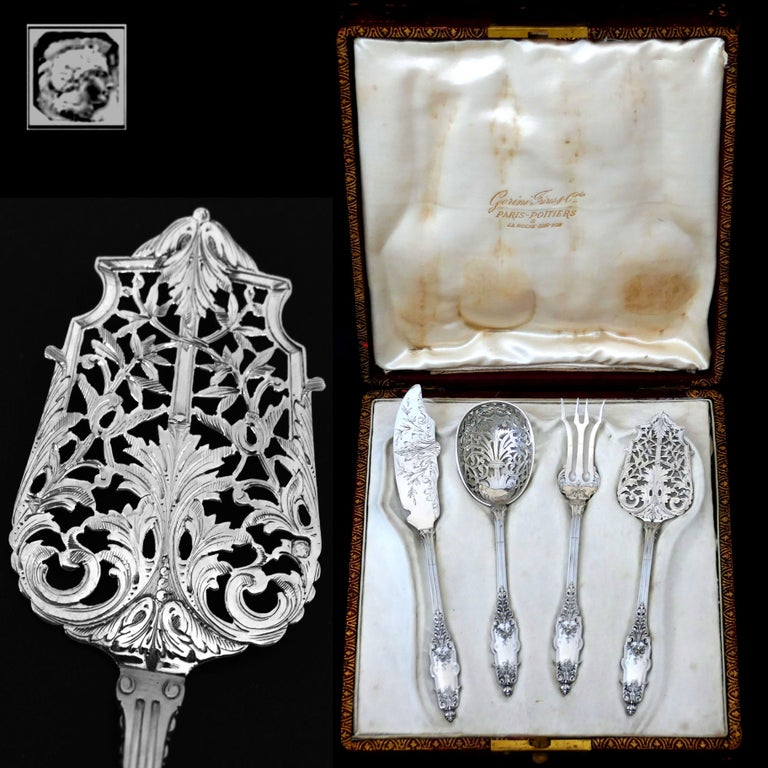 Puiforcat Rare French Sterling Silver Dessert Hors D'oeuvre Set, Box, Acanthus For Sale 1