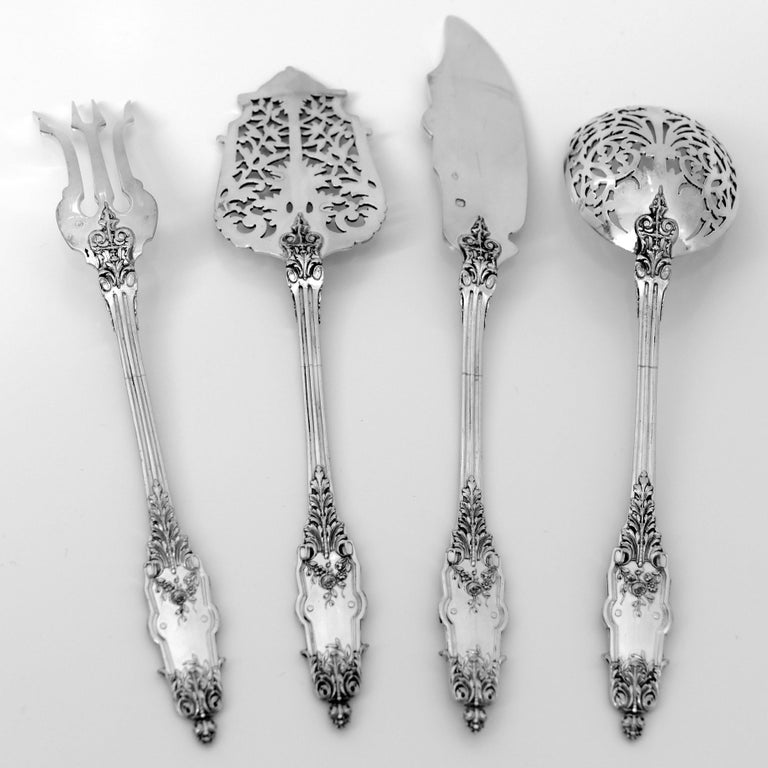 Puiforcat Rare French Sterling Silver Dessert Hors D'oeuvre Set, Box, Acanthus For Sale 3