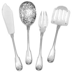 Puiforcat Rare French Sterling Silver Dessert Hors D'oeuvre Set, Shell