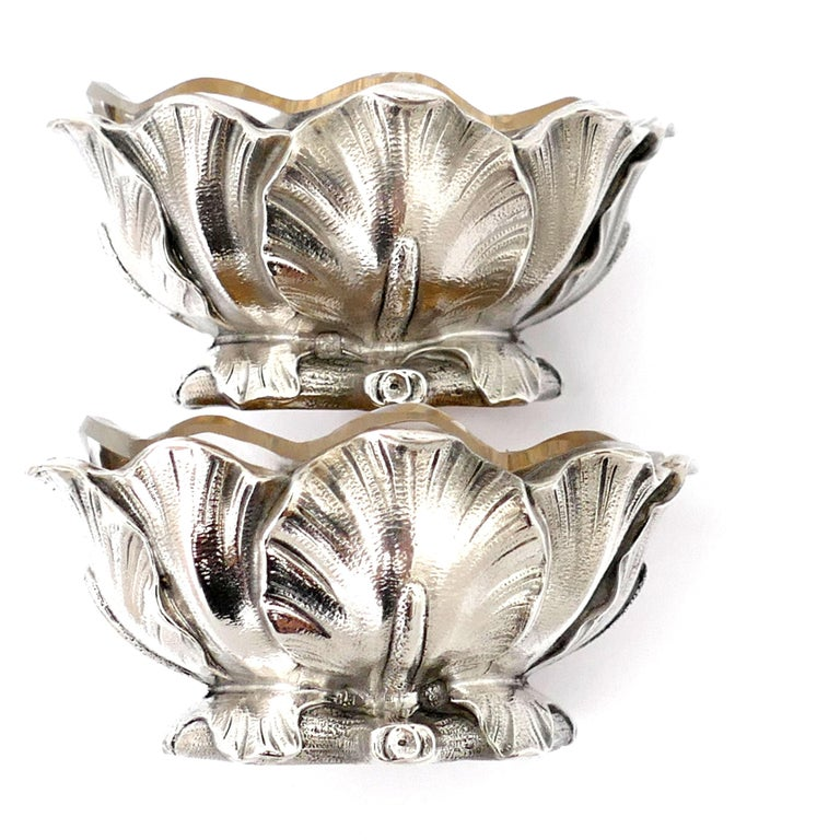 Gold Puiforcat Rare French Sterling Silver Salt Cellars Pair with Spoons, Iris For Sale