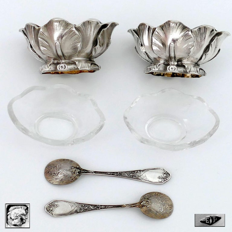 Puiforcat Rare French Sterling Silver Salt Cellars Pair with Spoons, Iris For Sale 2
