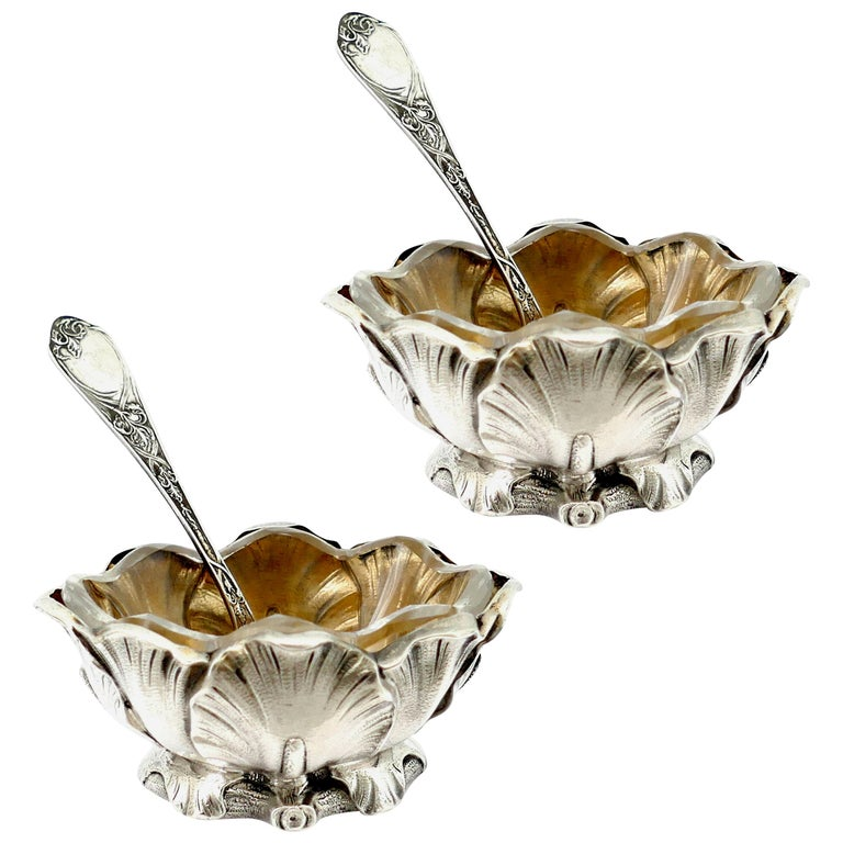 Puiforcat Rare French Sterling Silver Salt Cellars Pair with Spoons, Iris For Sale