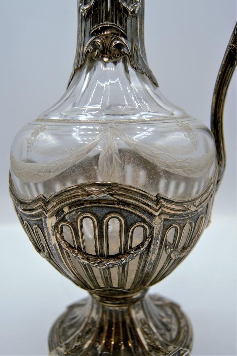European Puiforcat, Silver and Glass Ewer / Wine Carafe