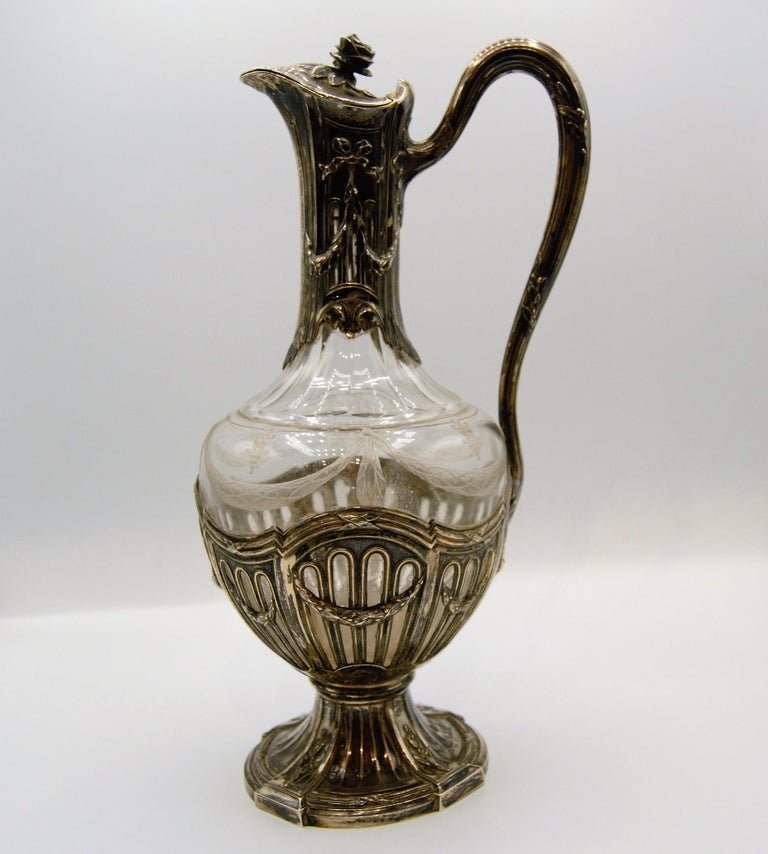 Puiforcat, Silver and Glass Ewer / Wine Carafe In Good Condition In Saint-Ouen, FR