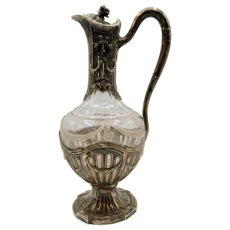 Puiforcat, Silver and Glass Ewer / Wine Carafe