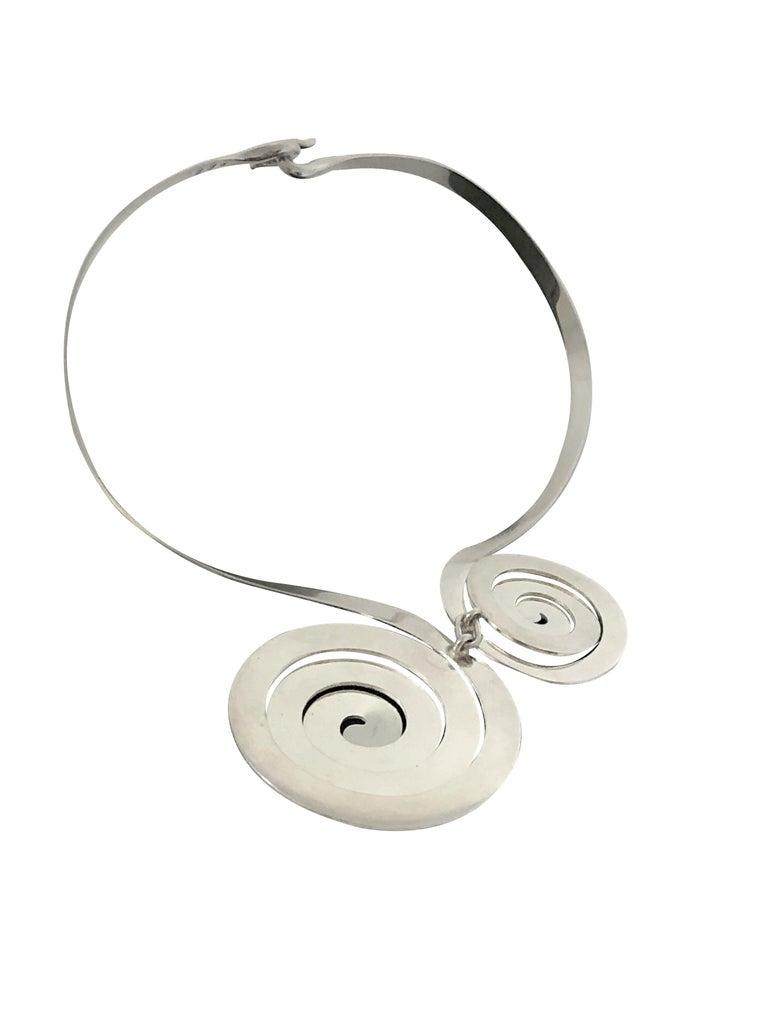 Modernist Puig Doria Large Midcentury Sterling Necklace For Sale