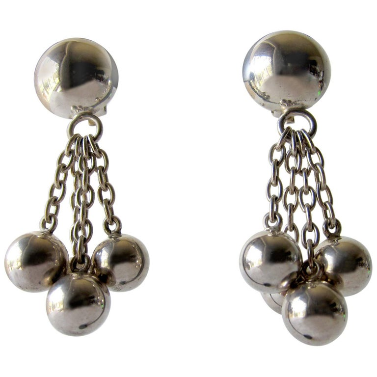 Puig Doria Sterling Silver Ball and Chain Dangling Earrings
