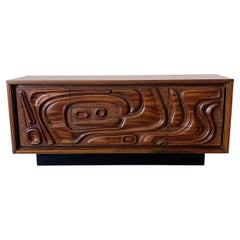 Pulaski Furniture Corporation 'Oceanic' Sculpted Walnut Dresser, circa 1969