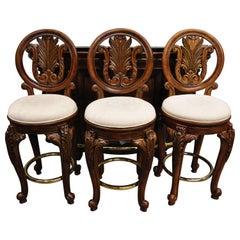 Pulaski Furniture Edwardian Marble Top Bar with 3 Swivel Bar Stools