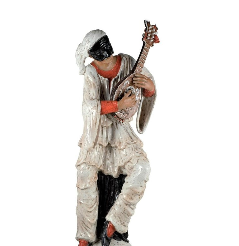 Introduced at Milan Design Week 2018, this entrancing statue of Pulcinella is a poetic ode to art and tradition. Seated on a cut-off column while playing the mandolin, this iconic character in Neapolitan puppetry from 17th century Commedia