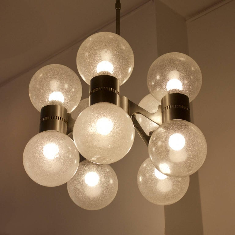 20th Century Pulegoso Glass Chandelier in the Style of Sciolari, Italy, 1960s For Sale
