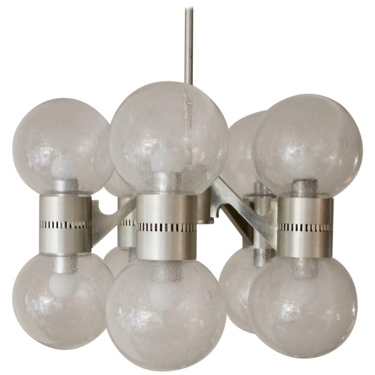 Pulegoso Glass Chandelier in the Style of Sciolari, Italy, 1960s For Sale