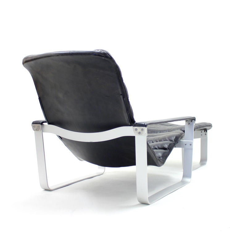 Pulkka Lounge Chair with Ottoman by Ilmari Lappalainen for ASKO, 1960s For Sale 3