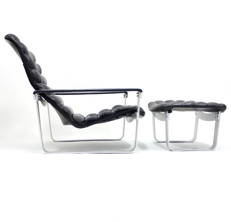 Aluminum Pulkka Lounge Chair with Ottoman by Ilmari Lappalainen for ASKO, 1960s For Sale