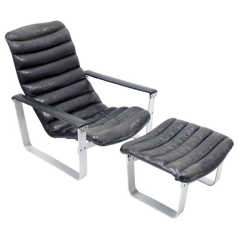 Pulkka Lounge Chair with Ottoman by Ilmari Lappalainen for ASKO, 1960s For Sale