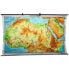 Pull Down Vintage North Africa Map African Wall Decoration