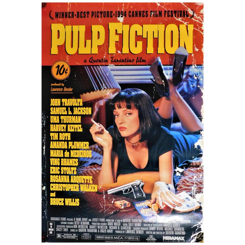Pulp Fiction 1994 Recalled Movie Poster Quentin Tarantino Sexy Uma Thurman At 1stdibs