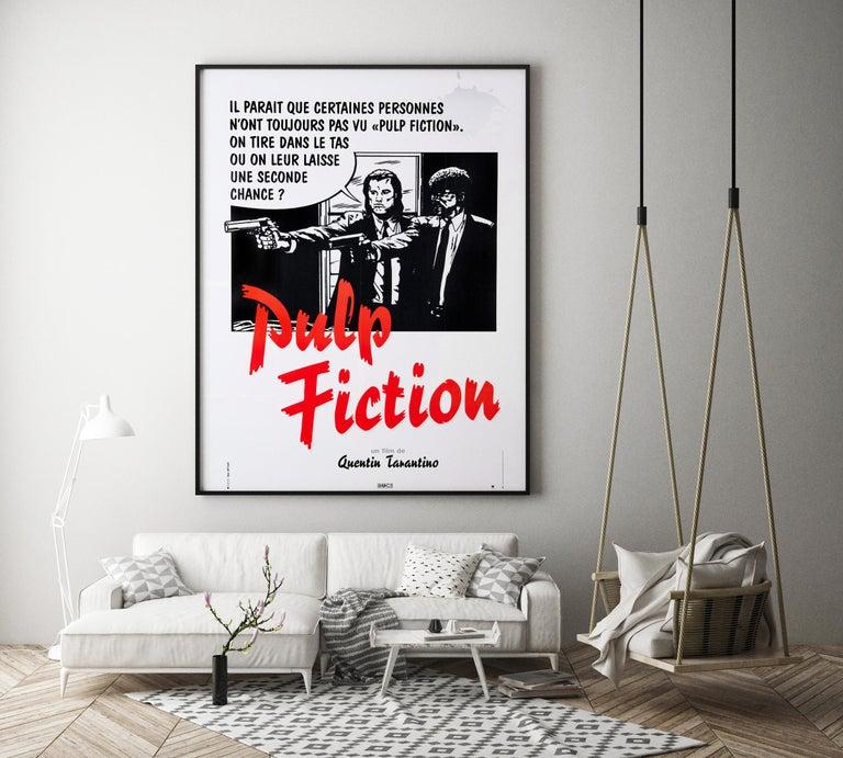 Post-Modern 'Pulp Fiction' Original Vintage French Movie Poster by Bernard Bittler, 1994 For Sale