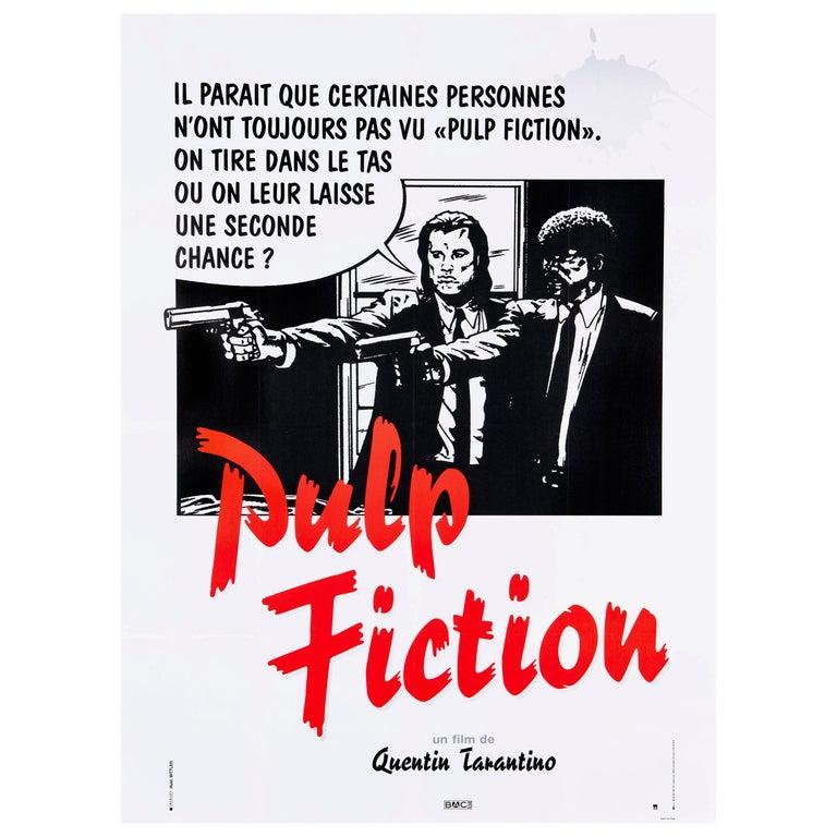 'Pulp Fiction' Original Vintage French Movie Poster by Bernard Bittler, 1994 For Sale