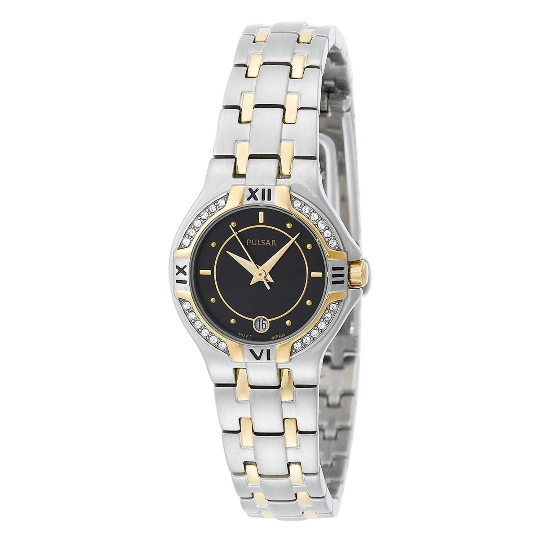 Pulsar Crystals Two-Tone Steel Black Dial Quartz Ladies Watch PXT606